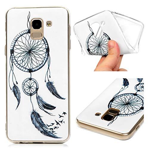 Hülle für Samsung Galaxy J6 2018, Gemalt Handyhülle Case, Soft TPU Schale Schutzhülle Handytasche Anti Fallen Stoßdämpfung Cover in Fliegende Vögel Dream Net Wind Chimes