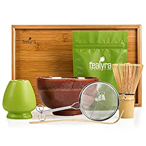 Tealyra - Matcha - Connoisseur Ceremony Start Up Kit - Complete Matcha Green Tea Gift Set - Imperial Matcha Tea Powder - Japanese Made Red Bowl - Bamboo Whisk Scoop and Tray - Holder - Sifter