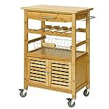 SoBuy® Servierwagen aus hochwertigem Bambus,Küchenwagen,Küchenregal, B60xT40xH92cm FKW09-N