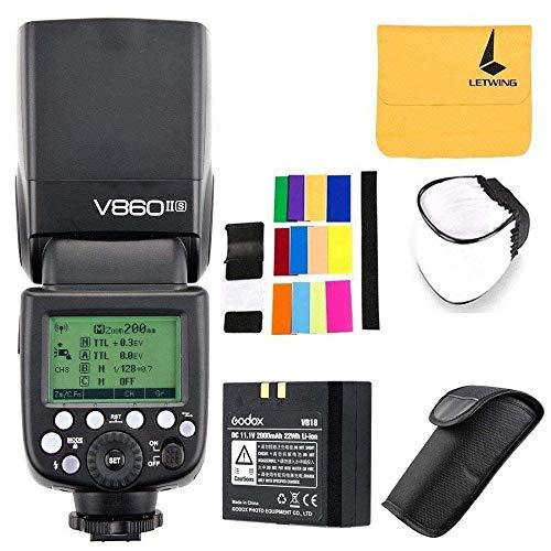 Godox V860II-S TTL Flash Speedlite pour Sony DSLR Caméra,2,4G HSS 1/8000 Haute Performance Batterie Li-ion pour Sony A7RIII A7RII A7R A58 A99 ILCE6000L A77II RX10 A9 etc