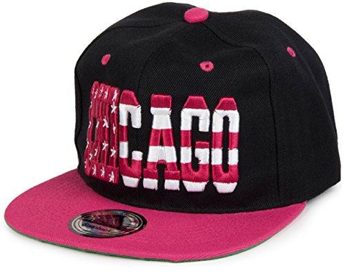 styleBREAKER Gorra Snapback «Chicago» en Diseño de Barras y Estrellas, Gorra de Béisbol, Unisex 04023031, Color Negro-Rosa