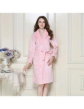 Bearony Suave Pareja Albornoz de Franela Camisón Solapa Espesada Albornoz Pijamas de Dormir (Color : Pink, tamaño...