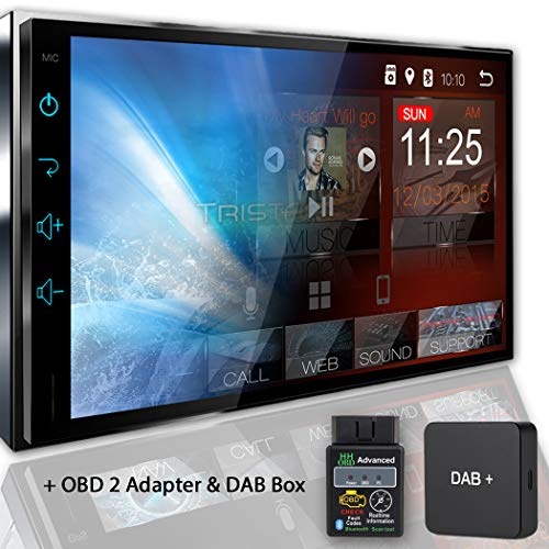 Tristan Auron BT2D7018A Autoradio mit Navi + OBD 2 Adapter + DAB Box, 7\'\' Touchscreen Bildschirm, Android 8.1, GPS Navi, Freisprecheinrichtung, Quad Core, MirrorLink, USB/SD, OBD 2, DAB+, 2 DIN