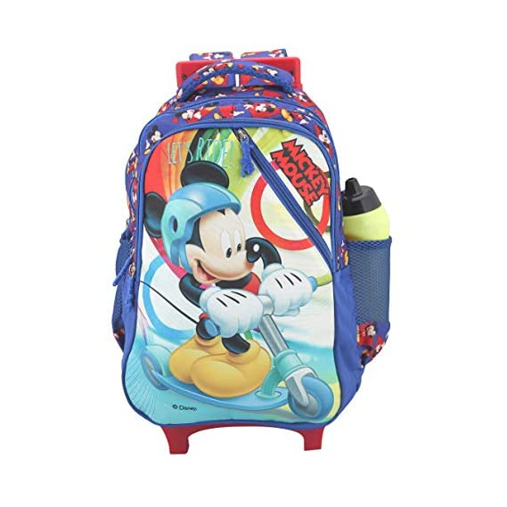 Disney School Bag, Backpack Cum Bag with Trolley/for Boys 07+ Years Mickey Mouse Road Surfing Cross Chain 31 (L) Polyester (Dat-700-18), Colour: Blue
