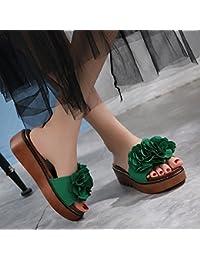 Zapatillas femeninas de moda de verano Zapatillas gruesas Sandalias femeninas al aire libre de 18-40 años ( Color : Verde , Tamaño : EU36/UK4/CN36 )