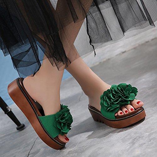 Estate Sandali Pantofole femminili di modo estivo Pantofole spesse Sandali esterne femminili per 18-40 anni Colore / formato facoltativo Verde