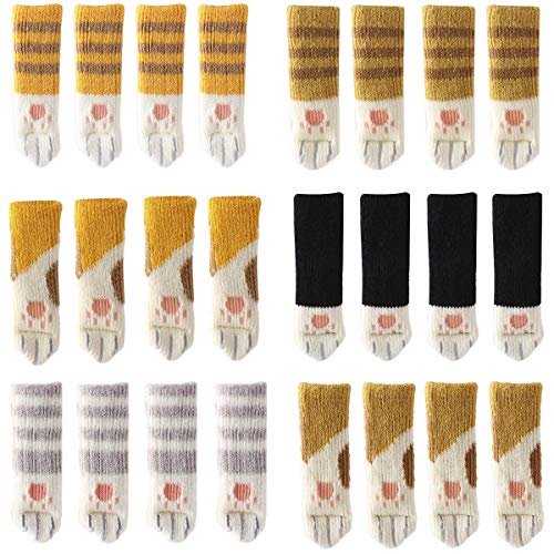 24PCS Stuhl Socken (6 Sets) Niedliche Katze Stuhlbeinschoner Stuhlsocken Möbelsocken, Katzen Klaue Stuhlbeinsocke Stuhlbeinsocken Fußbodenschoner -