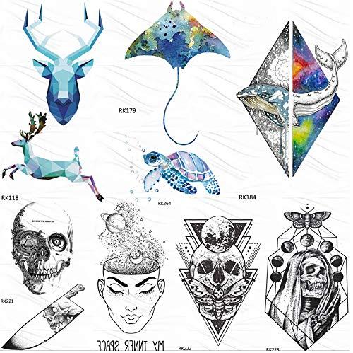 Yyydl elettrico pesce tartaruga acquerello tatuaggi temporanei adesivo geometrico delfino alci tattoo personalizzato art falso tatuaggi teschio 10 * 6 cm 7 pz