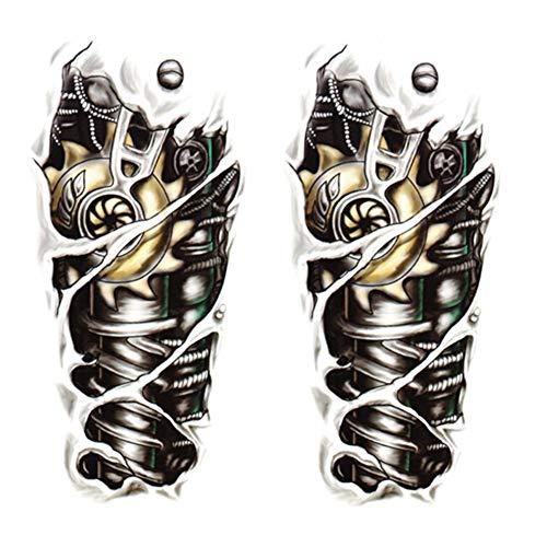 SpringPear 2X Temporär Mechanischer Arm Tattoo Aufkleber für Arme Beine Wasserfeste Tätowierung (2 Pcs QC-601)