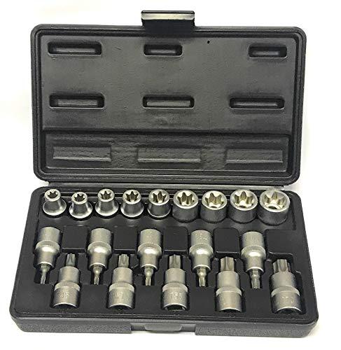 Steckschlüssel Stecknuss Schraubenschlüssel-Einsatz Satz TORX®E-Profil + T-Profil Einsätze Nuss - Chrom-Vanadium-Stahl - 19 tlg.