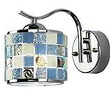 Wandlampe Mediterrane Blau Wandleuchte Schlafzimmer Wand Lampe Wandbeleuchtung Mit Mosaik Muschel Wandlicht Rund Wandhalterung Orientalisch Art Buntglas Leuchte Licht Jugendstil Design (Wand)