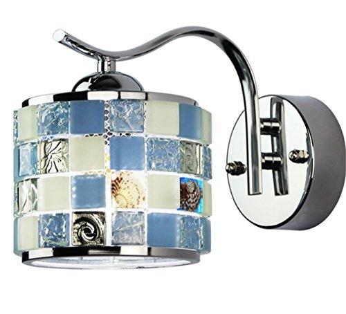 Wandlampe Mediterrane Blau Wandleuchte Schlafzimmer Wand Lampe Wandbeleuchtung Mit Mosaik Muschel Wandlicht Rund Wandhalterung Orientalisch Art Buntglas Leuchte Licht Jugendstil Design (Wand) (Mosaik-wandleuchte Licht)