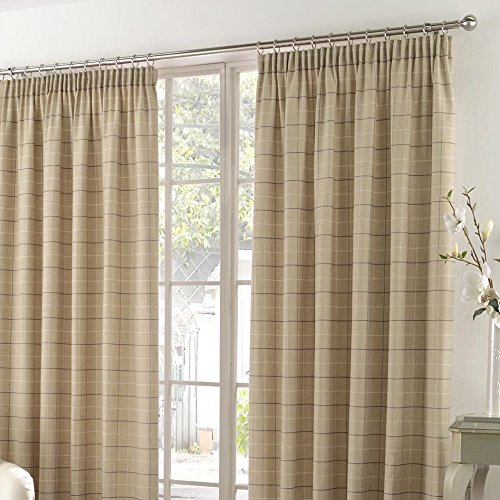 Tony's Textiles Burton Check Stripe Cotton Rich Tape Top Fully Lined Curtains, Natural Cream, 90 x 54-Inch