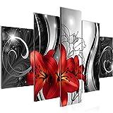 Bilder Blumen Lilien Wandbild 150 x 100 cm Vlies - Leinwand Bild XXL Format Wandbilder Wohnzimmer Wohnung Deko Kunstdrucke Rot 5 Teilig -100% MADE IN GERMANY - Fertig zum Aufhängen 208453c