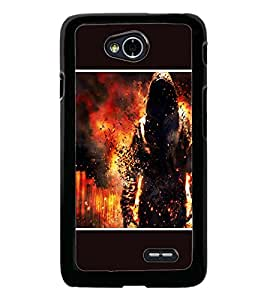 PrintDhaba Fire Man D-1355 Back Case Cover for LG L90 (Multi-Coloured)