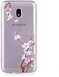 BoxTii Galaxy J5 2017 Hülle, TPU Silikon Clear Stoßdämpfend Schutzhülle für Samsung Galaxy J5 2017 (Blume #1)