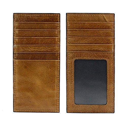 WOCACHI Herren Geldbörsen Männer echtes Leder Mappen Leder Kredit / ID Kartenhalter Geldbeutel Mappe (Grün) A-Khaki