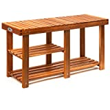 Zapatero/Banco elegante de madera dura de acacia de estilo colonial - Acabado de gran calidad - Medidas: (ancho x fondo x alto) 87x28x45cm