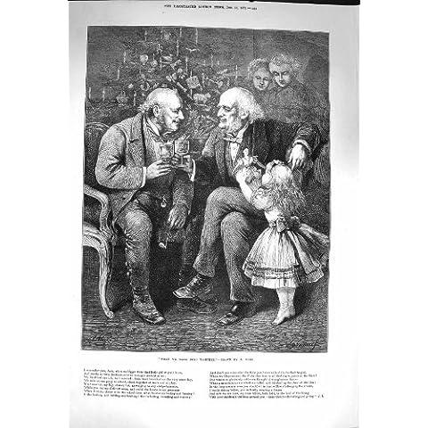 1873 Uomini Anziani di Natale che Bevono la Bambina Gioca l'Albero - I Bambini Bevono