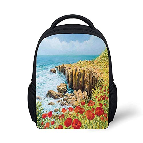 Kids School Backpack Flower,Coastal Seascape and Poppies on The Cliffs High Above The Bay Image Print,Red Peach Dark Green Plain Bookbag Travel Daypack (Green Bay Transfer)