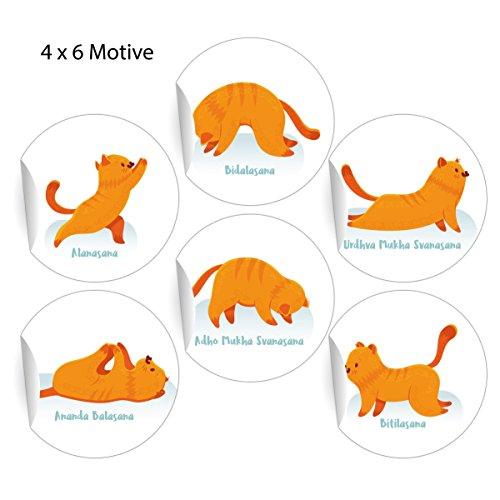 24 lustige Yoga Aufkleber mit Katze in Yoga Figuren, MATTE universal Papieraufkleber für Wellness Geschenke, Etiketten für Tischdeko, Pakete, Briefe und mehr (ø 45mm