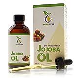 Natura Pur Bio Jojobaöl Gold 120ml - 100% nativ, kaltgepresst, vegan - Anti-Aging Serum für Gesicht, Anti-Falten, Körper, Haare, Haut, Hände, Nägel - naturreines Basisöl