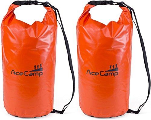 AceCamp 2 x wasserdichter Packsack Daypack schwimmfähig mit Tragegurt 73 x 33cm, 50 Liter, Doppelpack Orange, 24633