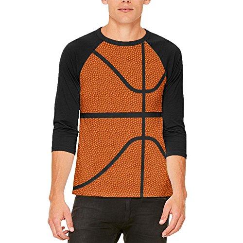 Basketball-Kostüm Herren Raglan T Shirt weiß-schwarz X-LG (Basketball Kostüme Für Männer)