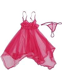 SODIAL pijama sexy de espina de pescado de tipo de arnes de gasa color rojo de