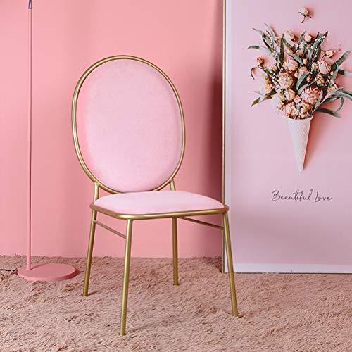 LRZS-Furniture Nordic Ins Wind Net Silla roja Silla Trasera Princesa Maquillaje Taburete Dormitorio Silla de Escritorio Moda Silla de Comedor Simple (Color : Pink)