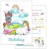 Einladungskarten Kindergeburtstag: 15 Prinzessin und Einhorn Geburtstagseinladungen Einladungen Geburtstag Kinder Mädchen (Mit passenden Umschlägen)