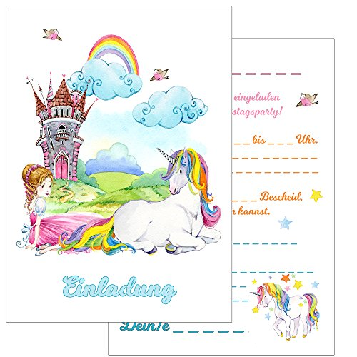 dergeburtstag: 15 Prinzessin und Einhorn Geburtstagseinladungen Einladungen Geburtstag Kinder Mädchen (Mit passenden Umschlägen) ()