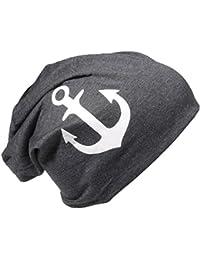 Jersey Slouch Beanie Long Mütze mit Motiv Anker Unisex Herren Damen Trend