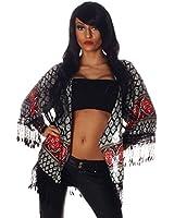 5935 Fashion4Young Damen Weich fließendes Shirt Tunika Hemd Jacke Retro prints Locker Poncho