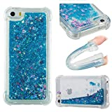iPhone 5S SE Case, Awesome Glitter Flowing Floating Love Heart Paillettes Quicksand Slim Cover, TAITOU Cool Liquid Moving Clear Ultralight Thin Phone Case for iPhone5S SE Blue