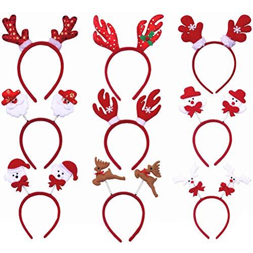 Toyvian Weihnachten Stirnband mit Schneenmann Rentier Geweih Haarreif Weihnachtsfeier Cosplay Kostüm Party Gastgeschenk 12 Stück (Zufällige Muster) (Rentier Kostüm Muster)