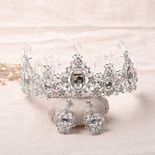 Mayanyan Braut Kristall Schmuck Vintage Queen Crown Hochzeit Zubehör Set Beauty Party Zubehö (Machen Beauty Queen Kostüm)