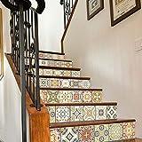 Treppenaufkleber Treppe 6 Teile/Satz 3D Aufkleber Keramikfliesen Muster Für Haus Treppen Dekoration Große Treppe Wandaufkleber Treppe Wasserdicht 100X18 Cmx6 Stücke Geschenk Gold