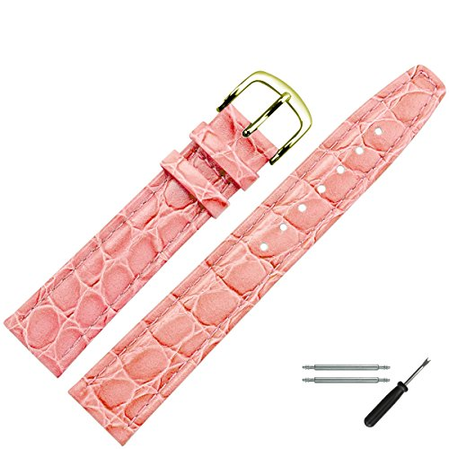 MARBURGER Uhrenarmband 20 mm Leder Rosa Kroko - Uhrband Set 3702043000220
