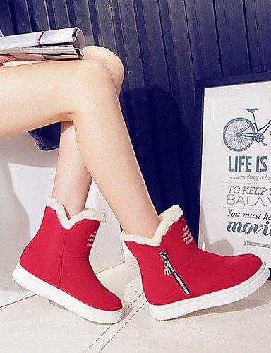 ShangYi Mode Frauen Schuhe Damen Schuhe Herbst/Winter Combat Boots PU-Outdoor / Kleid / and andere Ferse flach Schwarz / Braun / Rot Andere Rot