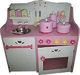 kempetoys TZ-D1404 Spielküche aus Holz für Kinder Rosa Kinderküche