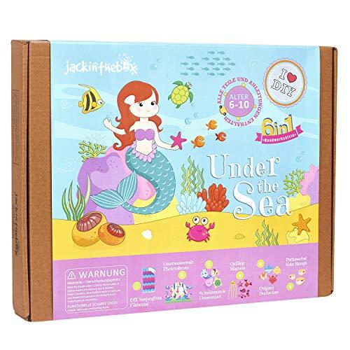 jackinthebox Unter dem Meer - Themes Bastelset   Enthält schöne Filz Meerjungfrau Nähen   6 Verschiedene Crafts-in-1 Mädchen im Alter von 6 bis 10 Jahren (6-in-1) Alte Oyster