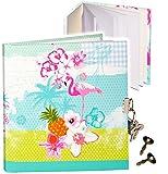 alles-meine.de GmbH Notizbuch / Tagebuch / Poesiealbum - mit Schloss -  Flamingo & Hibiskus Blume..