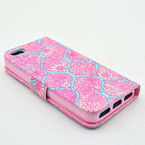 MOONCASE iPhone 5 Case Motif Conception Coque en Cuir Portefeuille Housse de Protection Étui à rabat Case pour iPhone 5 5S P28