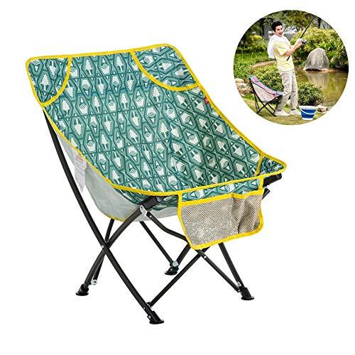 Dasgf sedia pieghevole da campeggio,sedia pieghevole da spiaggia,pieghevole piccolo mazza,sedia pieghevole colorata,ideale per il campeggio/escursionismo/caccia/pesca,tessuto 600d oxford,green