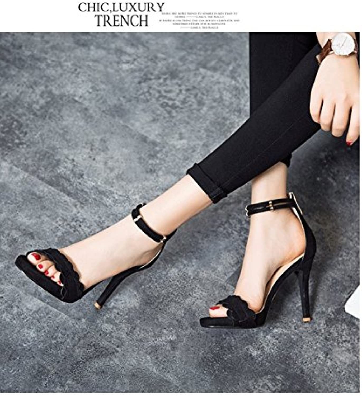 High-Heeled Sandals mujeres bellas con cubiertas impermeables solo zapatos de mujer, Rocío negro,38