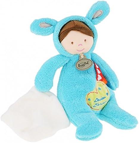 BabyNat - Peluches et Doudous - Doudou poupée Collection Les Poupées Déguisées - Poupon garçon déguisé en lapin avec son mouchoir blanc et étiquette coeur - Mon pantin se tranforme - Doudou d'amour -