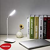 FINIVIVA LED Touch On/Off Switch Desk Lamp/Student Study Reading Dimmer Rechargeable Led Table Lamps(White)