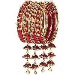 NMII Beautiful & Stylish Royal Design Pattern Silk Thread Bangle Set Studded With Zircon & Latkan(Jhumki/Kaleere) For Women & Girls On Wedding & Festive Occasions