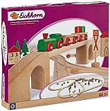 Eichhorn 100001204 - Bahn, Holzschienenbahn mit Brücke, 55-teilig - Streckenlänge: 4,60 Meter - Spielbahn aus Buchenholz